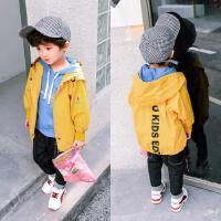 童装休闲夹克外套风衣男童春秋款后面竖向英文外套