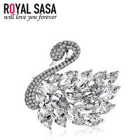 皇家莎莎胸针胸花女士仿水晶天鹅之吻别针扣开衫韩国时尚饰品送女友生日礼物