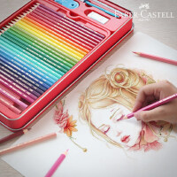 辉柏嘉48学生用美术用品专业绘画笔水溶性彩铅笔72色彩铅手绘套装