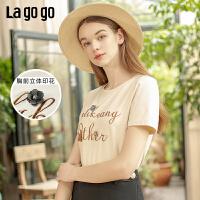 【新品5折价79】Lagogo/拉谷谷2019夏季新款时尚圆领立体印花短袖T恤女IATT314A02