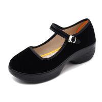 老北京布鞋女软底舞蹈鞋中跟黑色工作鞋酒店防滑厚底广场舞跳舞鞋 高一代 黑色