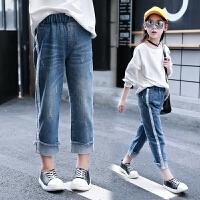 中大童裤子女 女童 休闲宽松织带长裤儿童装 洋气牛仔裤