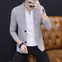 中长款针织开衫外穿修身韩版毛衣风衣潮流个性外套线衣男士秋冬装 9310卡其色 M