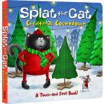 英文原版 Splat the Cat Christmas Countdown 啪嗒猫 汪培�E推荐 纸板洞洞触摸书 圣诞
