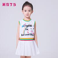 米奇丁当童装2018年夏季新款儿童女童中大童裙子无袖百褶连衣裙潮