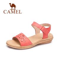 Camel/骆驼女鞋 春夏新款休闲简约女鞋镂空一字魔术贴凉鞋女