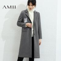 【5折价:277元/再叠优惠券】Amii极简高端韩版羊毛毛呢外套女2018冬新翻领长款单面呢修身大衣