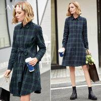 【预估价188元】Amii极简复古小个子文艺连衣裙2019秋季中长新款格子纯棉衬衫裙子