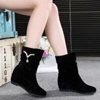 秋冬款长靴磨砂坡跟显瘦中筒靴内增高加绒平底高筒靴马丁靴女靴子 黑色88-3 35