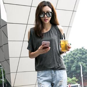 卡茗语 新款短袖t恤女宽松韩版夏装圆领半袖上衣百搭大码体恤衫蝙蝠袖