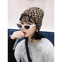 豹纹针织帽女双层保暖学生秋冬季套头毛线帽冬天帽子