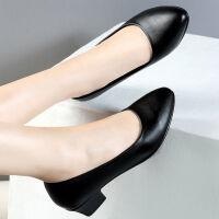 软皮软底上班职业工作鞋女黑色中跟中年女士皮鞋中老年妈妈鞋单鞋