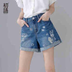 【下单减100 商场同款】初语2017夏装新款印花牛仔短裤女 卡通印花牛仔裤少女可爱直筒裤