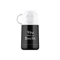【当当自营】艾可思潮牌不锈钢保温杯萌宝宝学生水壶便携户外运动学生笑脸水杯-杯身黑色