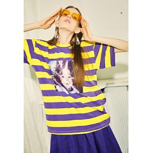 两三事反斗魔星2018夏季新款趣味印花撞色条纹棉质T恤女短袖上衣