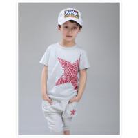 男童纯棉夏装套装儿童短袖T恤哈伦短裤两件套中大童2017夏季童装