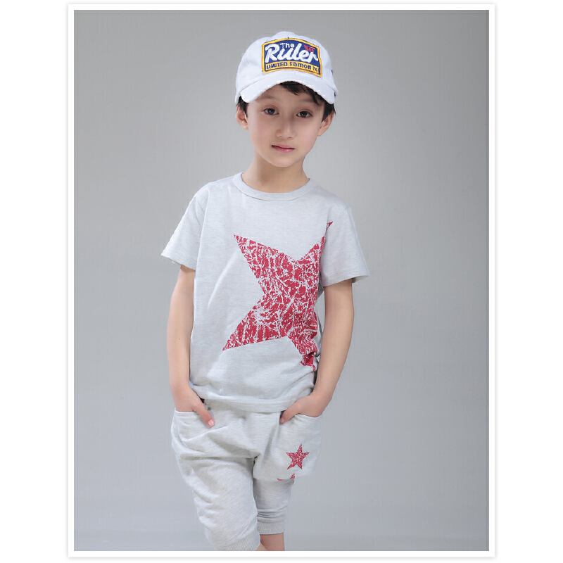 【每满100减50】小虎宝儿童装男童纯棉夏装套装儿童短袖T恤哈伦短裤两件套幼童夏装领券更优惠