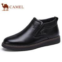 camel 骆驼男鞋 秋冬新品保暖商务加绒靴子男士毛靴高帮皮鞋