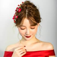 新娘头饰红色边夹发饰敬酒服礼服结婚饰品
