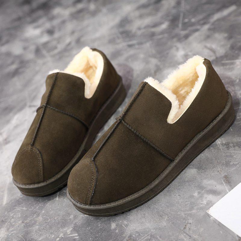 雪地靴女款学生韩版棉鞋女冬百搭一脚登面包鞋季磨砂懒人保暖加绒