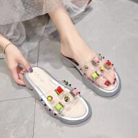 拖鞋女外穿夏季韩版彩钻厚底松糕跟中跟网红拖鞋凉拖鞋女2019新款