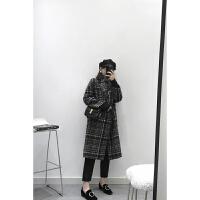 格子毛呢外套女中长款2018新款韩版时尚修身显瘦单排扣呢大衣秋冬 千鸟格现货