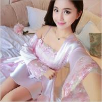 春秋款女士仿真丝睡衣套装冰丝睡袍丝绸吊带睡裙性感绣花两件套