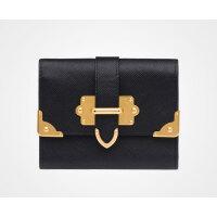 Prada/普拉达 黑色SAFFIANO皮革金属摁扣钱包 1MH840_2EJB_F0002