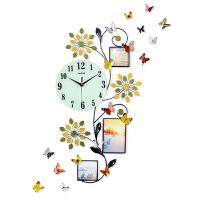 钟表挂钟客厅创意时钟现代欧式挂表简约大气装饰静音石英钟SN6388 夜光款 送彩色立体蝴蝶墙贴 20英寸以上