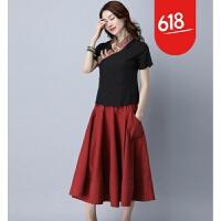 2018夏新款民族风短袖改良中国风旗袍唐装女上衣短袖GH11701