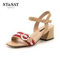 星期六(ST&SAT)夏季羊皮时尚金属扣粗跟凉鞋SS82115472