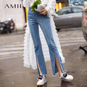 【到手价:129.9元】Amii极简网红ulzzang港味牛仔长裤2019春季新修身开叉喇叭休闲裤