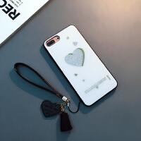 新款手机壳苹果X创意爱心Xs Max挂绳套6s潮牌XR女款 6/6s 4.7寸(白色)
