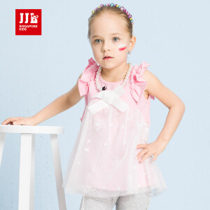 jjlkids季季乐童装2017新款夏女小童舒适鱼尾纹网纱短袖T恤