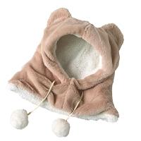 帽子女冬天毛绒加厚帽子围巾一体亲子卖萌套头帽婴幼儿保暖围脖潮 M(56-58cm)