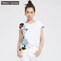 【狂欢返场,每满200减100再享买4免1!】美特斯邦威女T恤夏装女MTEE迪士尼米奇箱型短袖恤206811