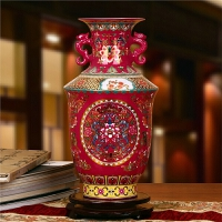 景德镇陶瓷器 高档水晶釉玫瑰红双耳缠枝莲花瓶 现代中式摆件装饰
