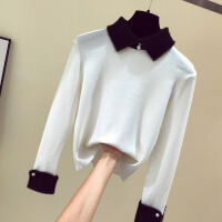 №【2019新款】新款韩版撞色Polo翻领长袖外穿毛衣娃娃领针织打底衫女 均码