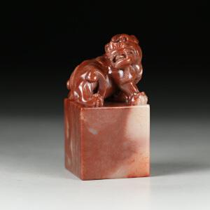 寿山巧色桃花朱砂芙蓉石 精雕瑞兽印章 p2088