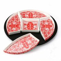 婚庆红色创意陶瓷碗整套餐具 喜庆礼品碗筷套装 结婚陪嫁回礼 骨瓷五果盘 礼盒装