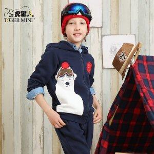 男童秋装套装 儿童加绒加厚12小熊两件套7韩版8童装9小虎宝儿10岁