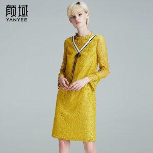 颜域品牌女装2018春夏新款复古弹性花边圆领长袖镂空蕾丝连衣裙