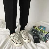 韩国ulzzang帆布鞋港味简约涂鸦女鞋chic印花休闲小白鞋冬 米色