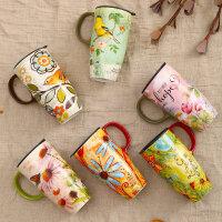 爱屋格林evergreen手绘陶瓷杯创意咖啡杯带盖水杯子马克杯