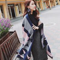 披肩围巾两用女春秋冬季韩版长款仿羊绒加厚学生保暖围脖披风冬天