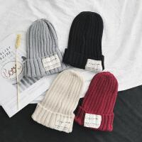 韩国毛线帽子女秋冬天 混色针织帽套头帽男时尚百搭情侣保暖潮