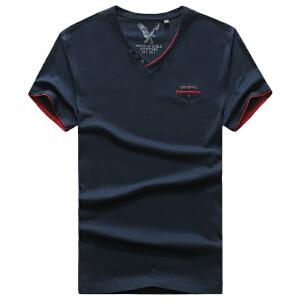 1810夏装新款战地吉普AFSJEEP纯棉弹力男士短袖polo衫 V领半袖T恤