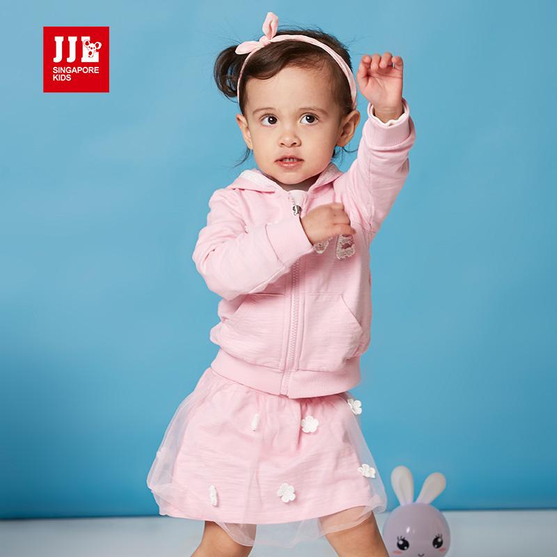 jjlkids季季乐童装女童套装裙子春秋新品女童纯棉连帽套装裙PGCZ61028