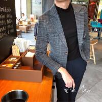 韩国帅气修身休闲英伦羊毛西装外套男士复古羊毛单西上衣潮流百搭