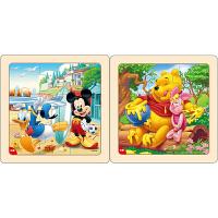 迪士尼拼图玩具 9片木制框拼标准版二合一(米奇2666+维尼2668)